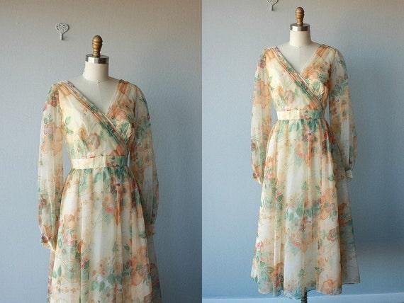 70s party dress / vintage 1970s chiffon dress / floral empire
