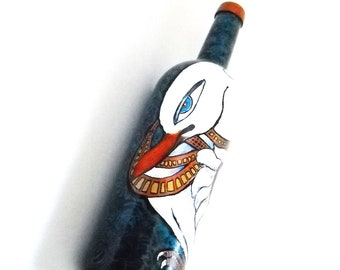 Hamsa Swan Art Bottle Hand Painted Bottle Decoratve Art Home Decor