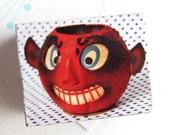 Red Devil Magnet - RETRO diablo devil pail Magnet - Halloween Decor