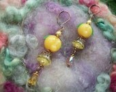Sweet Peach Lamp Work and Lucite Earrings