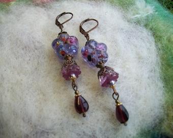 Earrings, Purple Lamp Work Flower