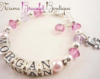 Rose pink crystal rosaline swarovski pearl Girl name bracelet/ baptism bracelet/ communion birthday christening flower girl jewelry silver
