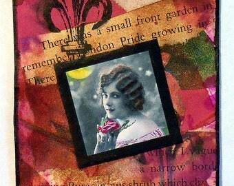 ACEO Handmade Original Vintage Photo Garden Theme Pink Rose Magenta Black