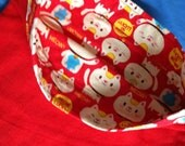 Reversible Pet Pillowcase in Red Fleece and Flannel Cat Print for Cats or Cat Lovers