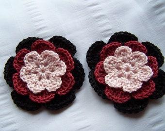 Crocheted flower motif 2.5 inch cotton