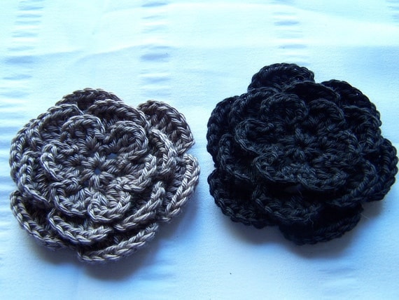 Crochet flower motif 2.5 inch cotton gray black