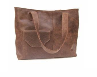women shoulder bag made of 100%  pure brown  leather bag everyday leather bag for laptop market school
