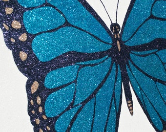 Wall Art - Glitter Art - Teal Butterfly - HUGE - 36x36 - Original - Wedding