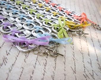 SET of FIVE Pastel  Rainbow Pop Top Bracelets