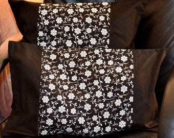 "Set Of 2 Patchwork Black & White FLOATING FLOWERS 18"" And 12 x 20 Inch Cotton Throw Pillow Lumbar Cushion Covers"
