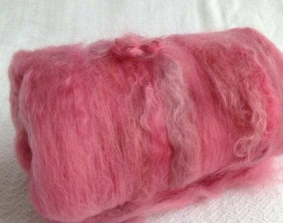 Rose Pink Spinning Batts Fiber South African Fine Wool mohair Art Batt Fibre