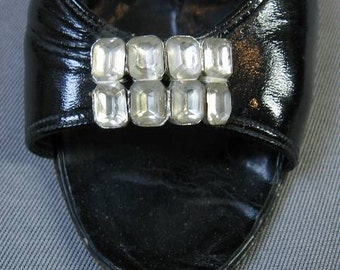 50s 60s Heels Vintage 1950s Slingback Open Toe Heels 7.5 Shoes Rhinestones Black