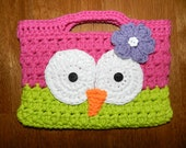 Crocheted Owl Purse/ Childs Crochet Purse/  Pink and Lime Green