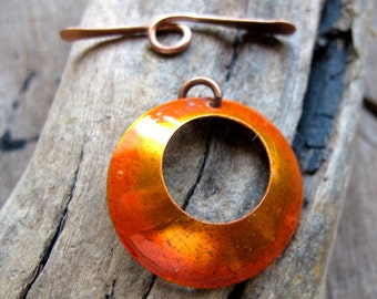 Orange Toggle Clasp - Copper Handmade Necklace Clasp - Enameled Artisan Jewelry Supplies - Unique Clasps - Solid Copper Clasp. Metal Clasp