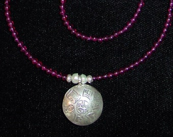 Karan Hill Tribe Sterling Tibetan OM Garnet Necklace Check for Store SALE