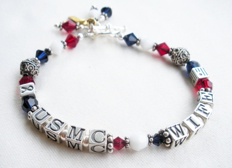marine corps jewelry usmc wife bracelet sterling silver. Black Bedroom Furniture Sets. Home Design Ideas