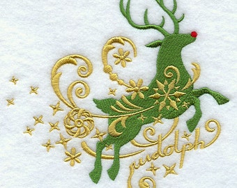 RUDOLPH IN FILIGREE- Machine Embroidered Quilt Block (AzEB)