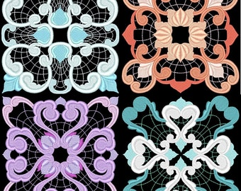 BAROQUE SQUARES - 36 Machine Embroidery Designs Instant Download 4x4 5x7 6x10 hoop (AzEB)