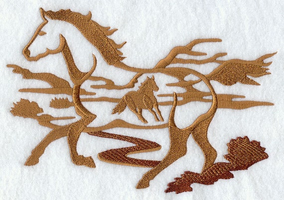 Wild Horse Silhouette Scene Machine Embroidered Quilt Blocks