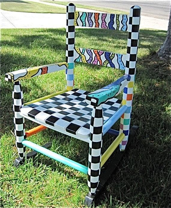 Kids 39 Rocking Chair Checkerboard Shipping By Barbarashangups