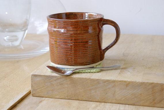RESERVED FOR Jenny Set of two handmade tea mugs - stoneware pottery mugs glazed in red jasper