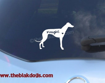 Greyhound Silhouette Vinyl Sticker - personalized Car Decal