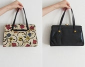 floral tapestry handbag . patent leather reversible TWO IN ONE 1950 convertible purse .disaster relief .sale