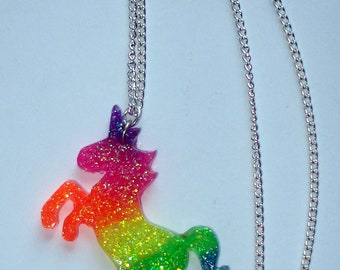 Neon rainbow UV glow glitter unicorn necklace