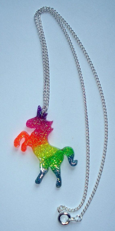 Neon Rainbow Uv Glow Glitter Unicorn Necklace