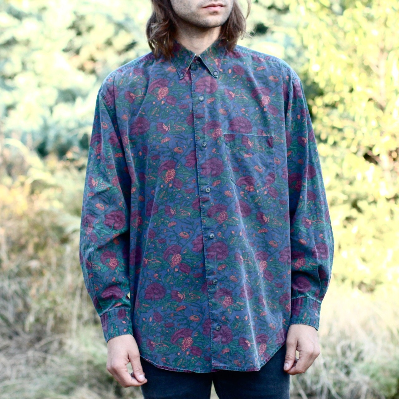 Men 39 S Floral Button Up Shirt M