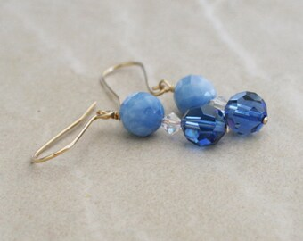 Blue bead jewelry, crystal beads, blue jade stone, gold earrings, stone earrings, gold filled wire, light blue ,