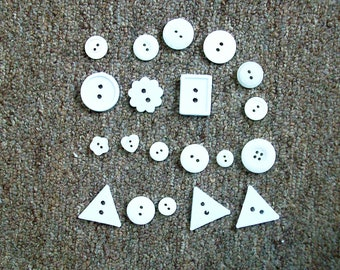 20 white, cream assorted size and shape buttons  2 holes new