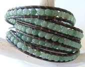 114. Green Aventurine - Leather Wrap Bracelet