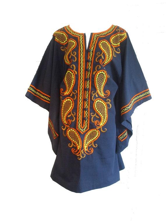 HALF OFF 70s Caftan Dashiki Angel Sleeve Mini