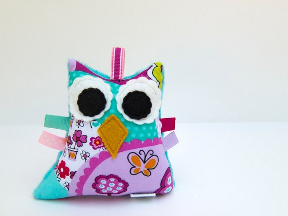 Mini Plush Owl Rattle Toy Stuffed Owl Softie Turquoise Pink Purple Minky Plush Ready to Ship