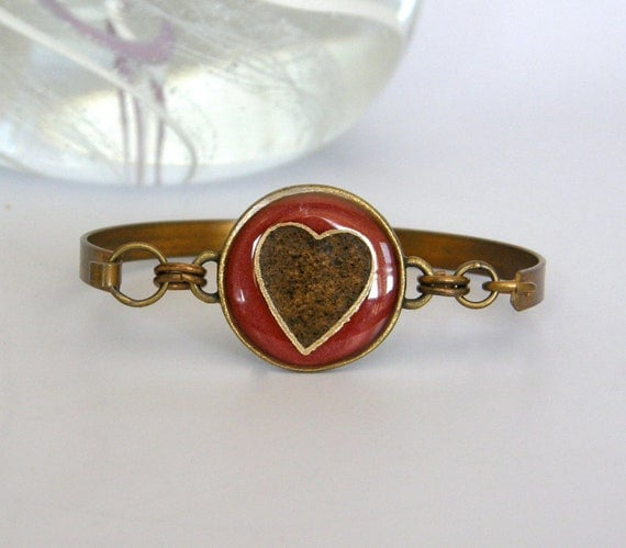 New Design - Circle Heart Beach Sand Bangle, Red