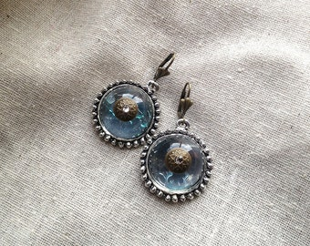 Vintage Clear High Dome Cabochon Dangle Earrings-Brass or Silver Center with Swarovski Rhinestone