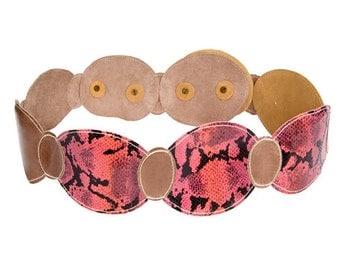 WIDE BELT - thick belt - Women wide belt - PINK belt -Pink Snakeskin & gray Leather belt ,leather belt, pink leather belt