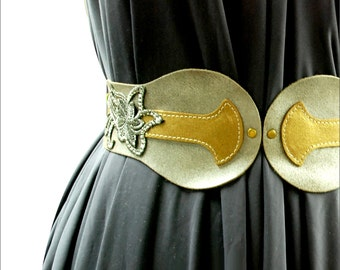 Silver Leather Belt - Womens leather waist Obi - fashion belt - wide belt - waist belt - hip belt- BOGO SALE