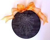 Spider Web on Painted Silk Free Motion Machine Embroidery 8 inch Hoop Art