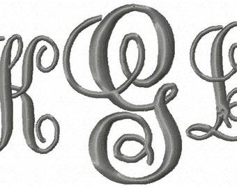 Fancy Monogram Machine Embroidery Font Set 3 sizes