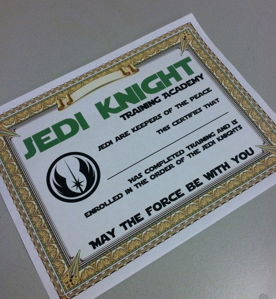 Star Wars Certificate Party Printable Training Academy