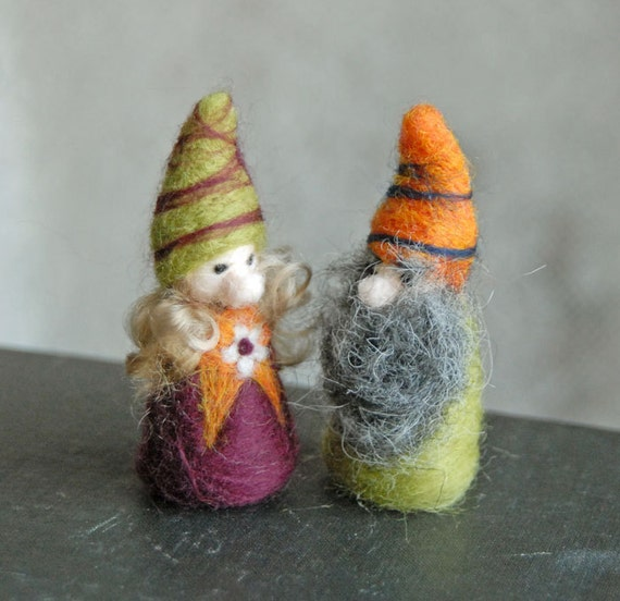 Happy Gnome Couple - Gnome Wedding - Waldorf Inspired - Needle Felted
