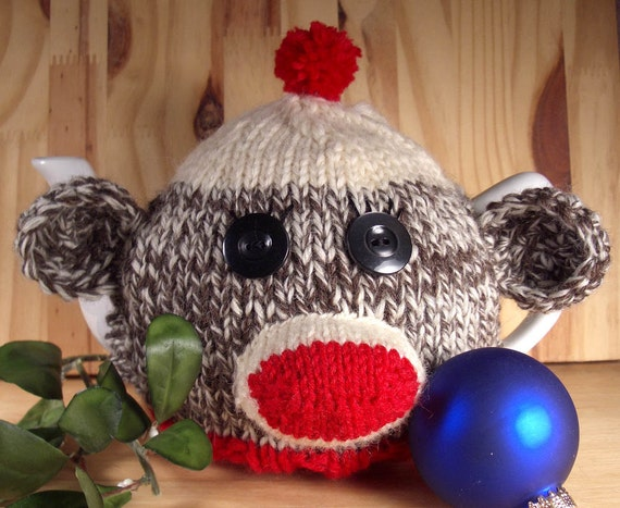 Sock Monkey Tea Cosy- A warm and whimsical sweater for your teapot