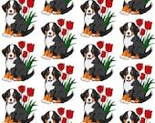 Bernese Mountain dog fleece fabric