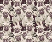 Pugs and Pawprints  fabric