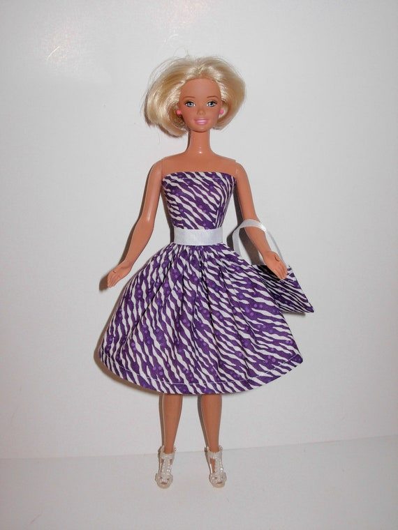 Pretty handmade dress for barbie doll