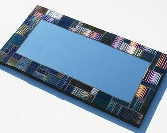 "Iridescent Mosaic Mirror made with Bullseye Accordian Glass 10.75"" x 21"""