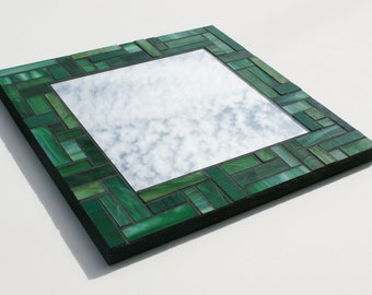 "Green Stained Glass Mosaic Mirror 12"" x 12"""