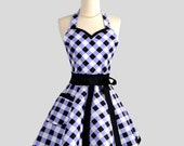 Sweetheart Retro Apron / Womens Apron Feminine Flirty Bodice in Black and Periwinkle Gingham